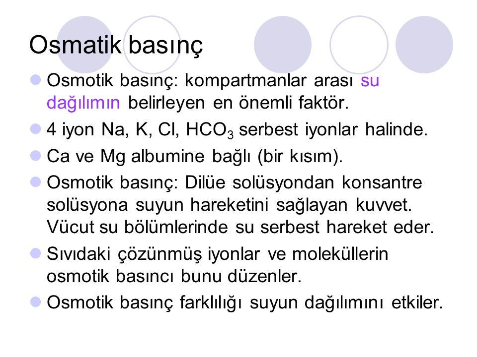 Osmatik basınç Osmotik basınç: kompartmanlar arası su dağılımın belirleyen en önemli faktör. 4 iyon Na, K, Cl, HCO 3 serbest iyonlar halinde. Ca ve Mg