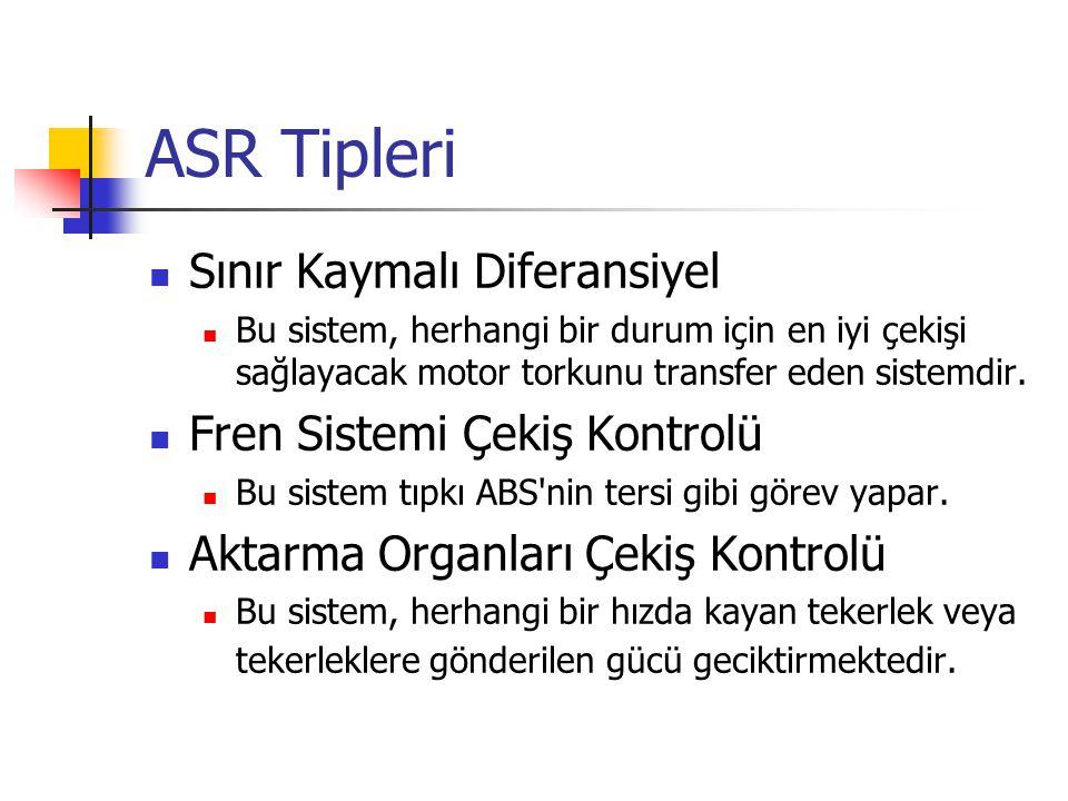 ASR Tipleri Sınır Kaymalı Diferansiyel Bu sistem, herhangi bir durum için en iyi çekişi sağlayacak motor torkunu transfer eden sistemdir. Fren Sistemi