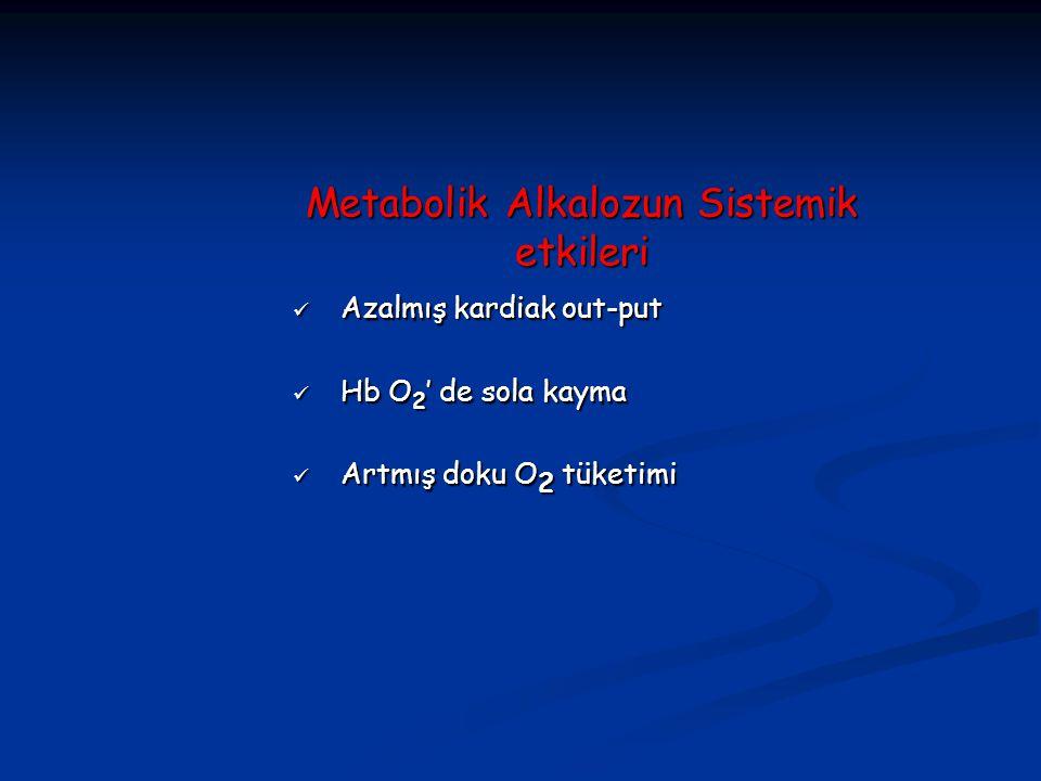 Metabolik Alkalozun Sistemik etkileri Azalmış kardiak out-put Azalmış kardiak out-put Hb O 2 ' de sola kayma Hb O 2 ' de sola kayma Artmış doku O 2 tü