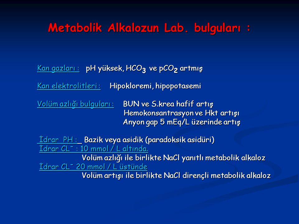 Metabolik Alkalozun Lab. bulguları : Kan gazları : pH yüksek, HCO 3 ve pCO 2 artmış Kan elektrolitleri : Hipokloremi, hipopotasemi Volüm azlığı bulgul