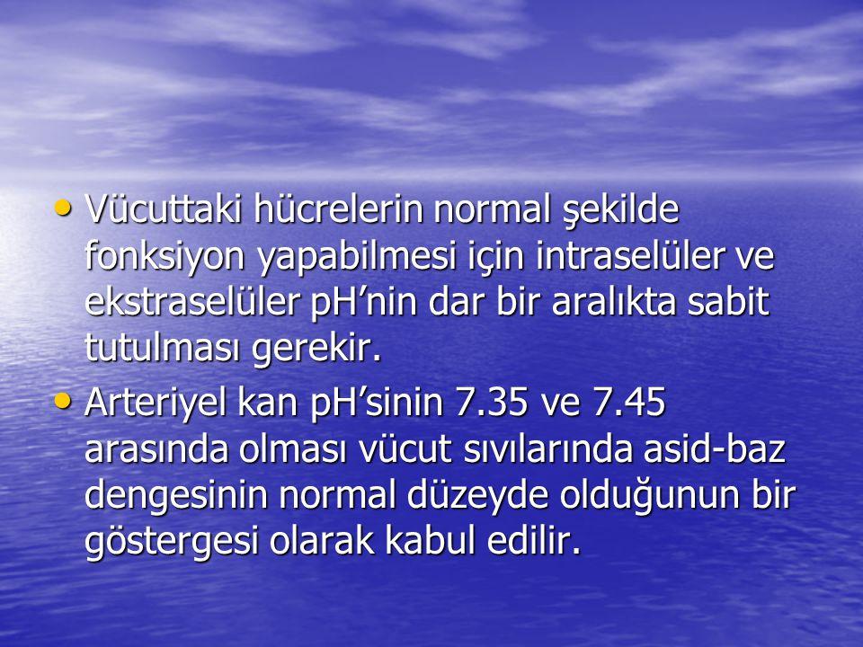 Vücuttaki hücrelerin normal şekilde fonksiyon yapabilmesi için intraselüler ve ekstraselüler pH'nin dar bir aralıkta sabit tutulması gerekir. Vücuttak