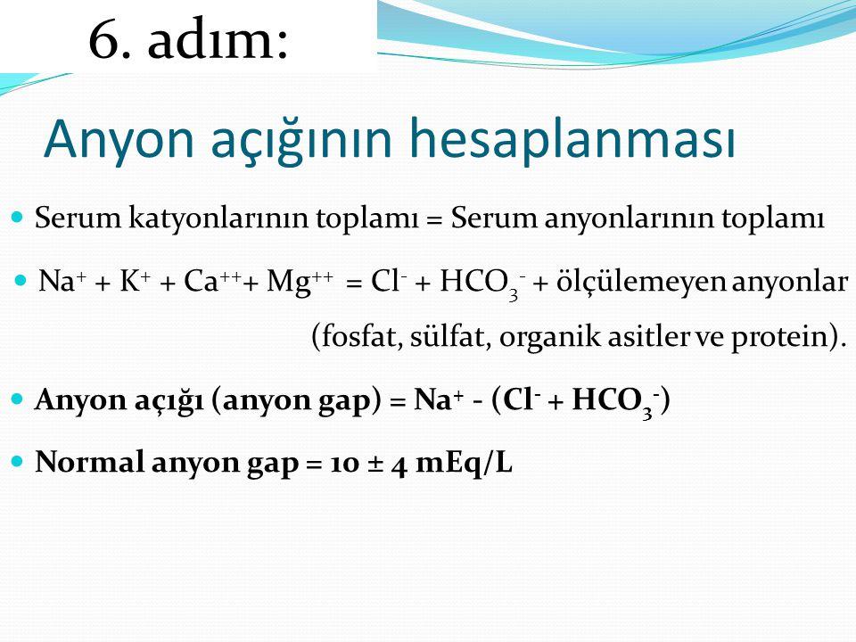 Anyon açığının hesaplanması Serum katyonlarının toplamı = Serum anyonlarının toplamı Na + + K + + Ca ++ + Mg ++ = Cl - + HCO 3 - + ölçülemeyen anyonlar (fosfat, sülfat, organik asitler ve protein).