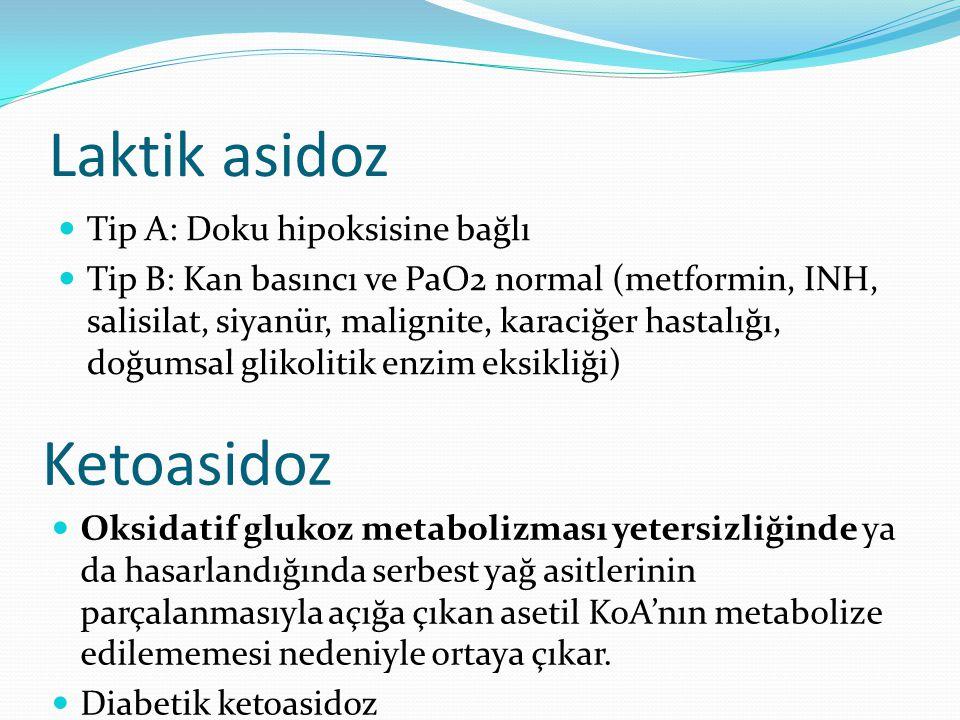 Laktik asidoz Tip A: Doku hipoksisine bağlı Tip B: Kan basıncı ve PaO2 normal (metformin, INH, salisilat, siyanür, malignite, karaciğer hastalığı, doğumsal glikolitik enzim eksikliği) Ketoasidoz Oksidatif glukoz metabolizması yetersizliğinde ya da hasarlandığında serbest yağ asitlerinin parçalanmasıyla açığa çıkan asetil KoA'nın metabolize edilememesi nedeniyle ortaya çıkar.