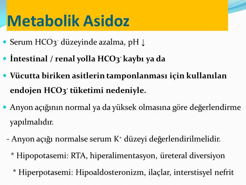 Metabolik Asidoz Serum HCO3 - düzeyinde azalma, pH ↓ İntestinal / renal yolla HCO3 - kaybı ya da Vücutta biriken asitlerin tamponlanması için kullanılan endojen HCO3 - tüketimi nedeniyle.