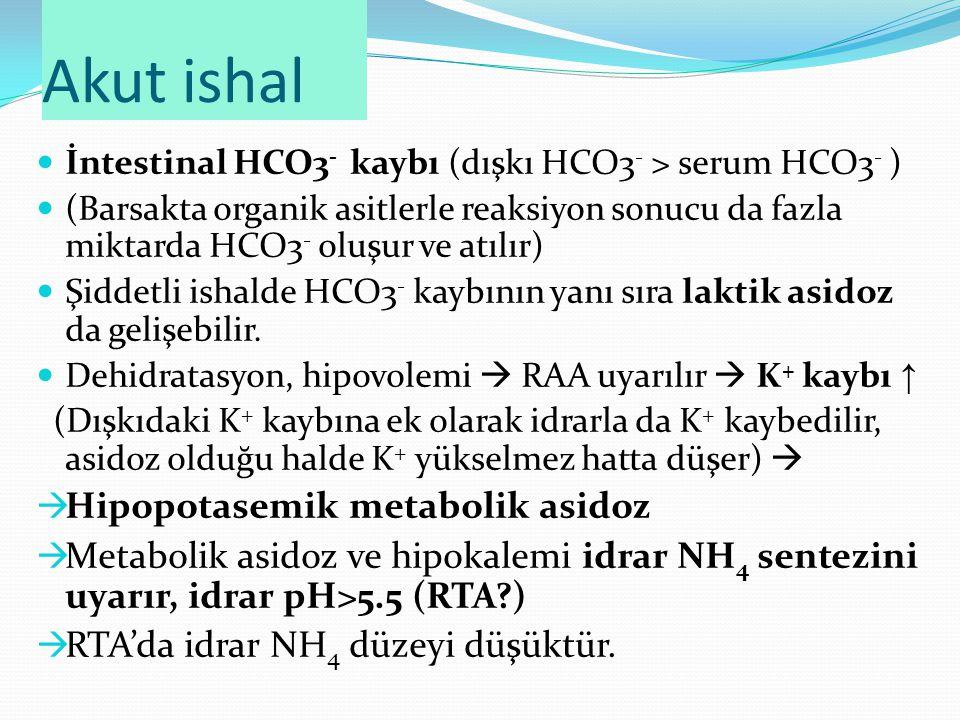 Akut ishal İntestinal HCO3 - kaybı (dışkı HCO3 - > serum HCO3 - ) (Barsakta organik asitlerle reaksiyon sonucu da fazla miktarda HCO3 - oluşur ve atılır) Şiddetli ishalde HCO3 - kaybının yanı sıra laktik asidoz da gelişebilir.