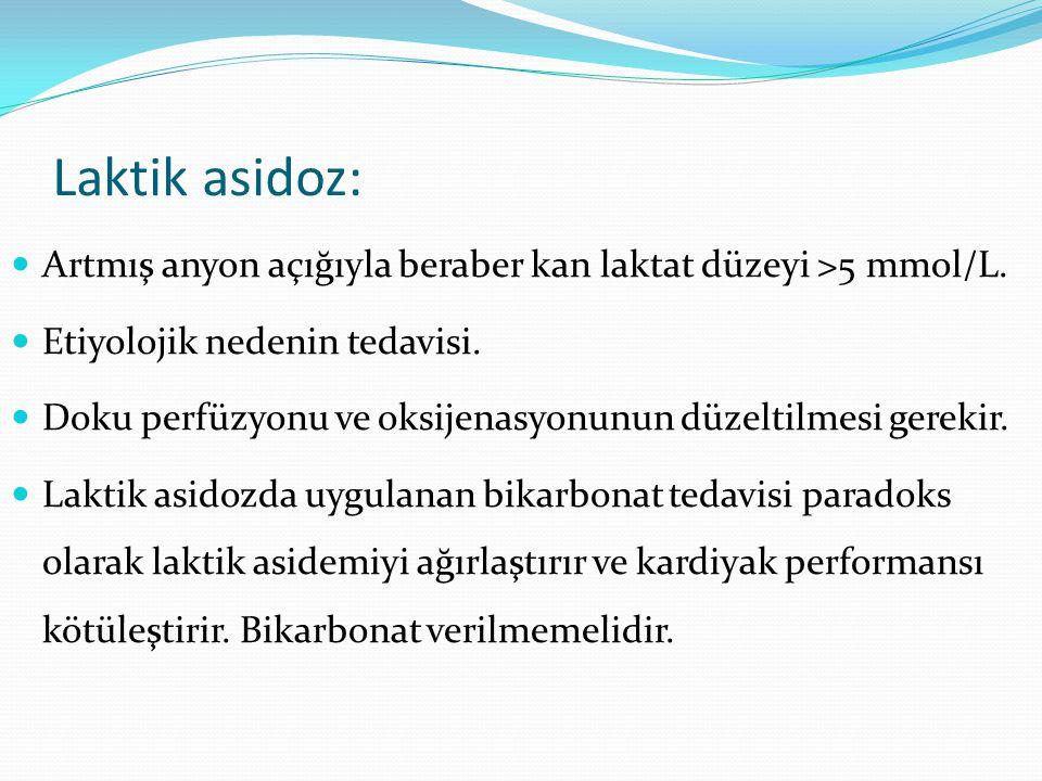 Laktik asidoz: Artmış anyon açığıyla beraber kan laktat düzeyi >5 mmol/L.