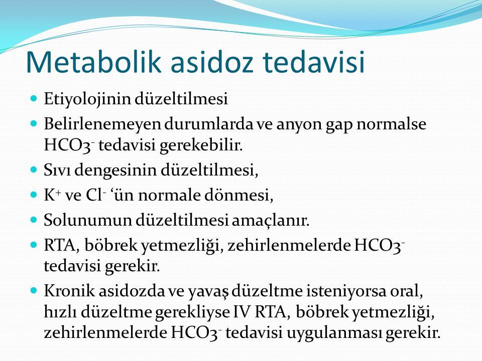 Metabolik asidoz tedavisi Etiyolojinin düzeltilmesi Belirlenemeyen durumlarda ve anyon gap normalse HCO3 - tedavisi gerekebilir.