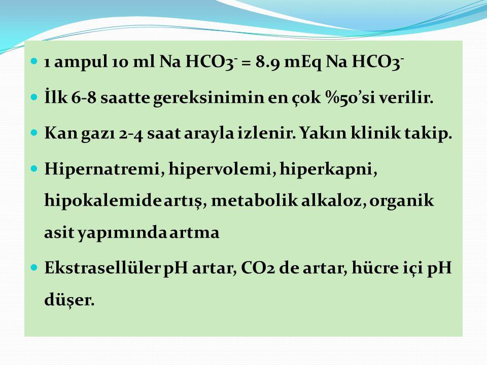 1 ampul 10 ml Na HCO3 - = 8.9 mEq Na HCO3 - İlk 6-8 saatte gereksinimin en çok %50'si verilir.