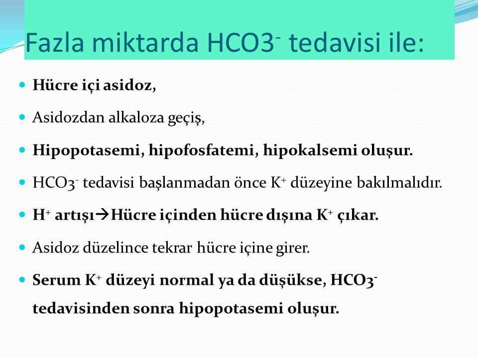 Fazla miktarda HCO3 - tedavisi ile: Hücre içi asidoz, Asidozdan alkaloza geçiş, Hipopotasemi, hipofosfatemi, hipokalsemi oluşur.