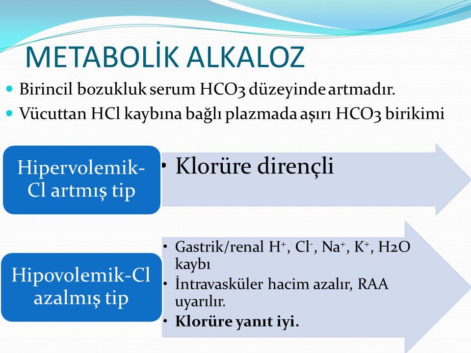 METABOLİK ALKALOZ Birincil bozukluk serum HCO3 düzeyinde artmadır.
