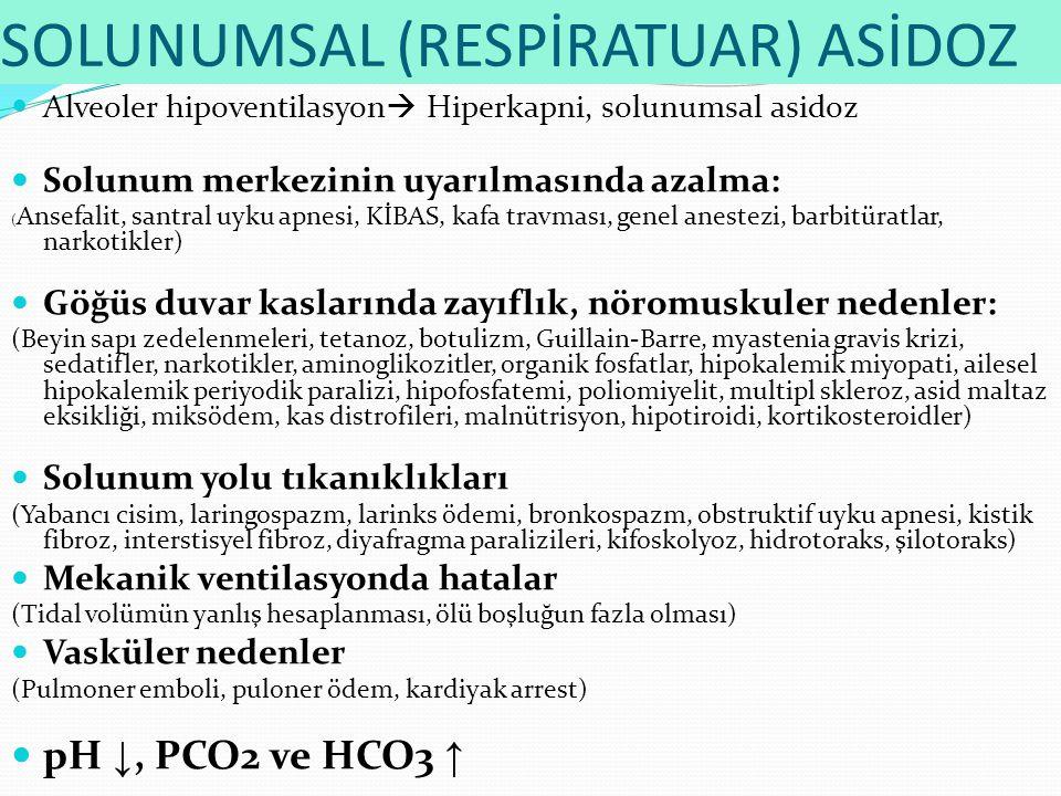 SOLUNUMSAL (RESPİRATUAR) ASİDOZ Alveoler hipoventilasyon  Hiperkapni, solunumsal asidoz Solunum merkezinin uyarılmasında azalma: ( Ansefalit, santral uyku apnesi, KİBAS, kafa travması, genel anestezi, barbitüratlar, narkotikler) Göğüs duvar kaslarında zayıflık, nöromuskuler nedenler: (Beyin sapı zedelenmeleri, tetanoz, botulizm, Guillain-Barre, myastenia gravis krizi, sedatifler, narkotikler, aminoglikozitler, organik fosfatlar, hipokalemik miyopati, ailesel hipokalemik periyodik paralizi, hipofosfatemi, poliomiyelit, multipl skleroz, asid maltaz eksikliği, miksödem, kas distrofileri, malnütrisyon, hipotiroidi, kortikosteroidler) Solunum yolu tıkanıklıkları (Yabancı cisim, laringospazm, larinks ödemi, bronkospazm, obstruktif uyku apnesi, kistik fibroz, interstisyel fibroz, diyafragma paralizileri, kifoskolyoz, hidrotoraks, şilotoraks) Mekanik ventilasyonda hatalar (Tidal volümün yanlış hesaplanması, ölü boşluğun fazla olması) Vasküler nedenler (Pulmoner emboli, puloner ödem, kardiyak arrest) pH ↓, PCO2 ve HCO3 ↑