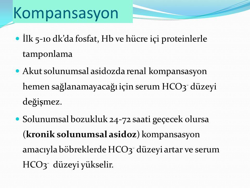 Kompansasyon İlk 5-10 dk'da fosfat, Hb ve hücre içi proteinlerle tamponlama Akut solunumsal asidozda renal kompansasyon hemen sağlanamayacağı için serum HCO3 - düzeyi değişmez.