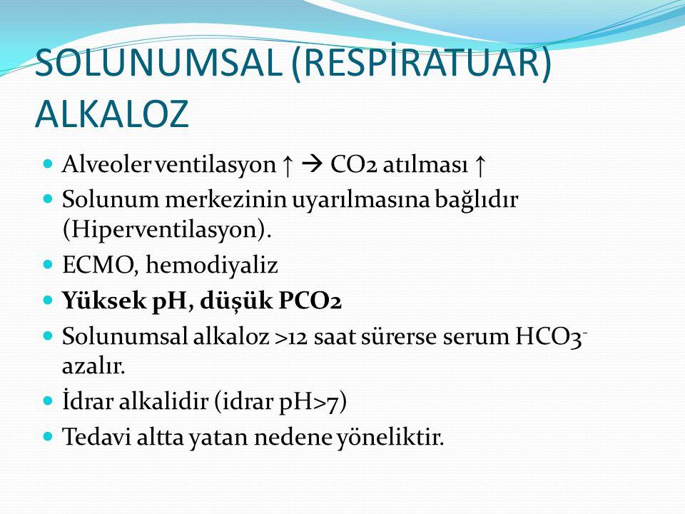SOLUNUMSAL (RESPİRATUAR) ALKALOZ Alveoler ventilasyon ↑  CO2 atılması ↑ Solunum merkezinin uyarılmasına bağlıdır (Hiperventilasyon).
