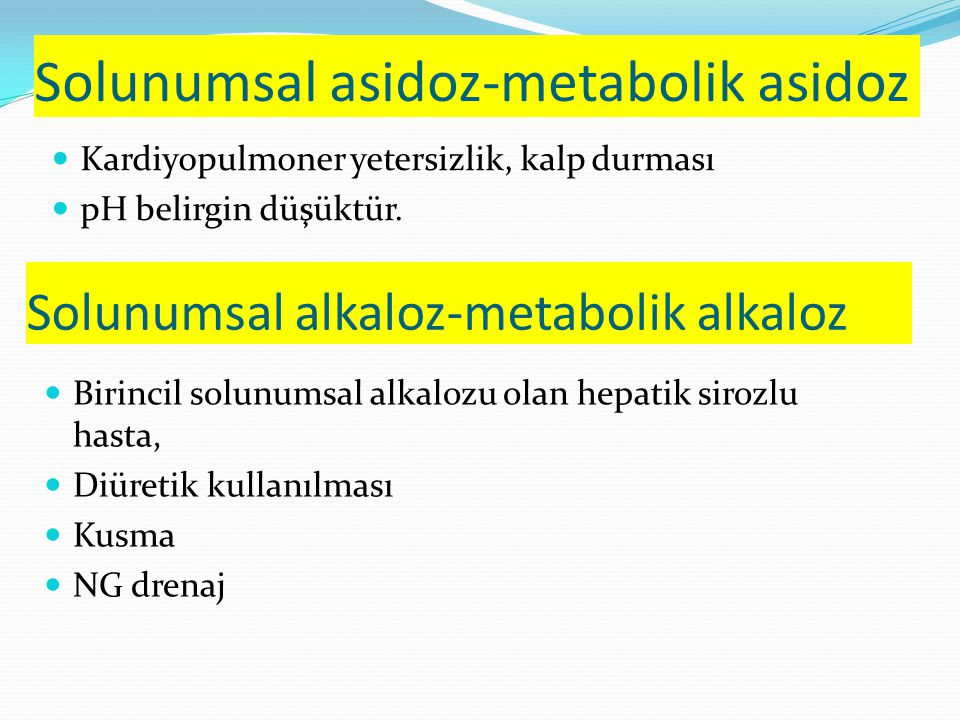 Solunumsal asidoz-metabolik asidoz Kardiyopulmoner yetersizlik, kalp durması pH belirgin düşüktür.