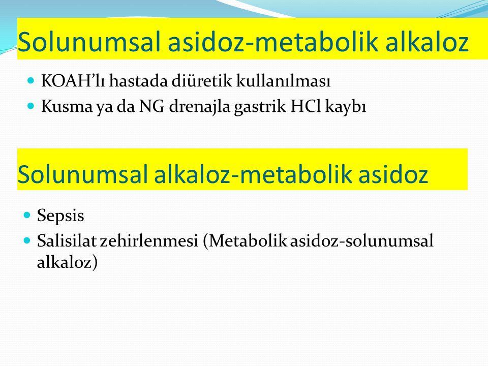Solunumsal asidoz-metabolik alkaloz KOAH'lı hastada diüretik kullanılması Kusma ya da NG drenajla gastrik HCl kaybı Solunumsal alkaloz-metabolik asidoz Sepsis Salisilat zehirlenmesi (Metabolik asidoz-solunumsal alkaloz)