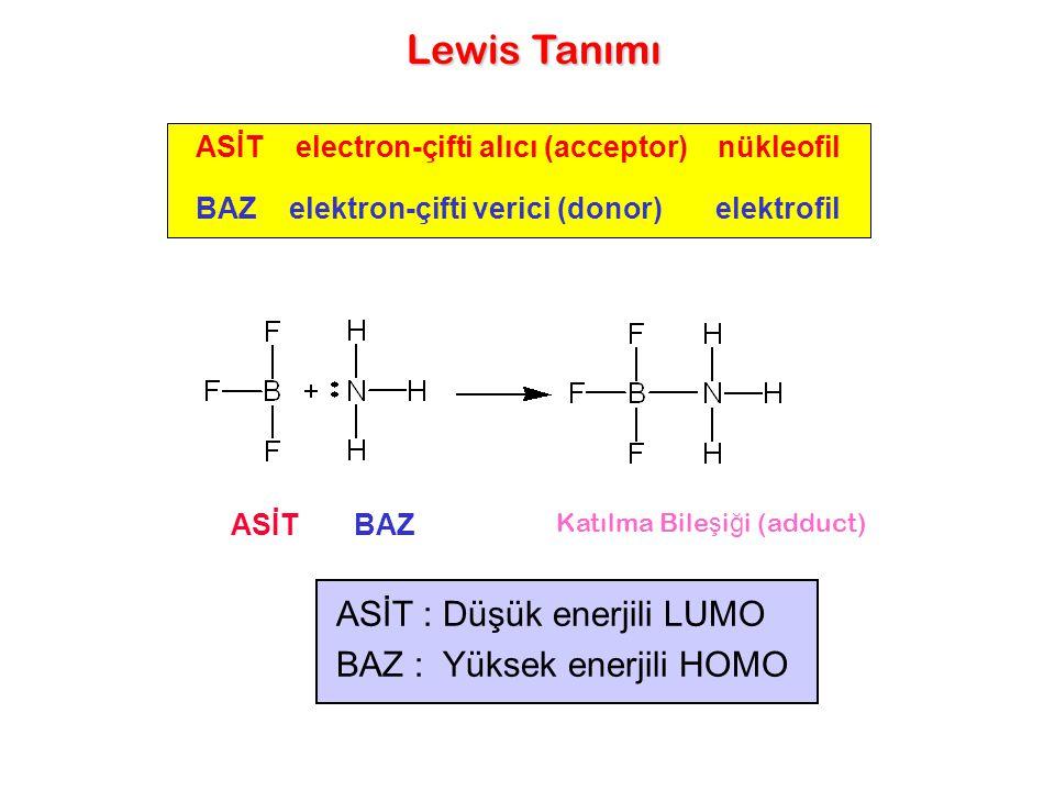 BAZ elektron-çifti verici (donor) elektrofil BAZASİT ASİT electron-çifti alıcı (acceptor) nükleofil Lewis Tanımı Katılma Bile ş i ğ i (adduct) ASİT :
