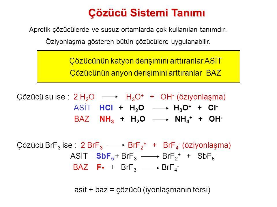pK iyon = -log[asit][baz] –pK W = -log[H 3 O + ][OH - ] = -log[10 -7 ][10 -7 ] = 14 –pK H2SO4 = -log[H 3 SO 4 + ][HSO 4 - ] = 3.4 –Sayı küçüldükçe, ayrışma artar 2 Cl 3 PO  Cl 2 PO + + Cl 4 PO - 2 SO 2  SO + + SO 3 2-