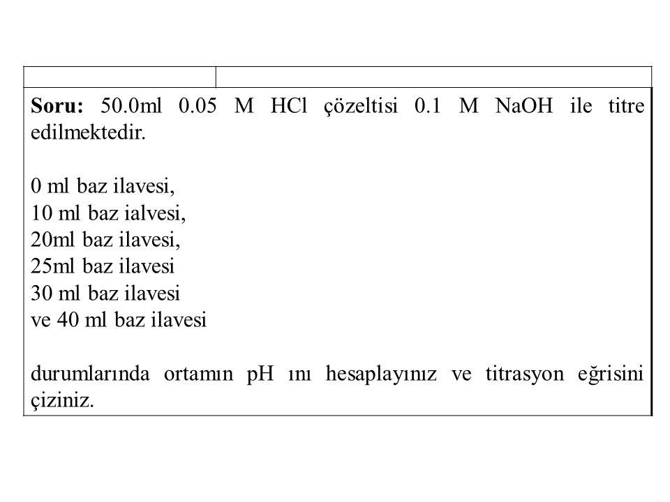 Soru: 50.0ml 0.05 M HCl çözeltisi 0.1 M NaOH ile titre edilmektedir. 0 ml baz ilavesi, 10 ml baz ialvesi, 20ml baz ilavesi, 25ml baz ilavesi 30 ml baz