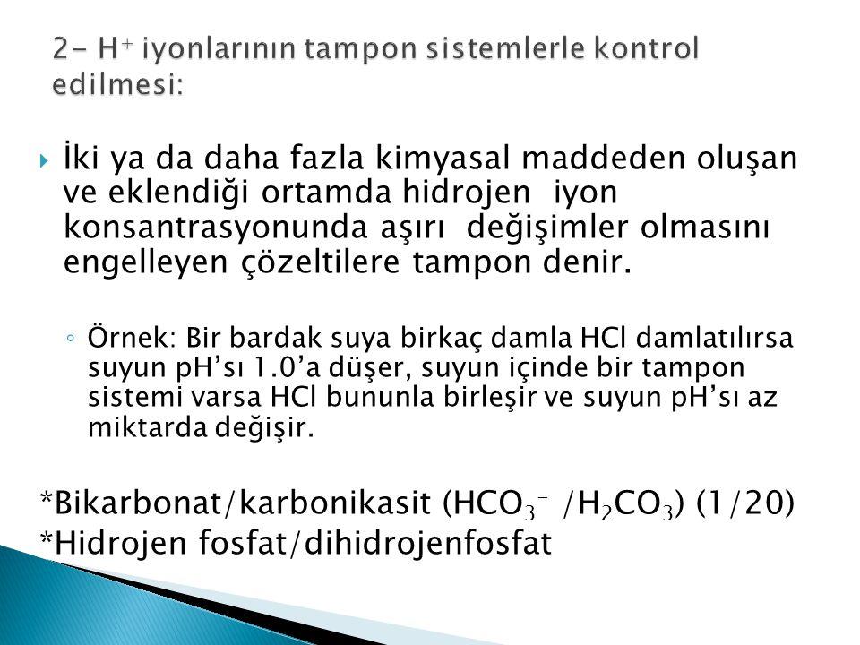  İki ya da daha fazla kimyasal maddeden oluşan ve eklendiği ortamda hidrojen iyon konsantrasyonunda aşırı değişimler olmasını engelleyen çözeltilere tampon denir.