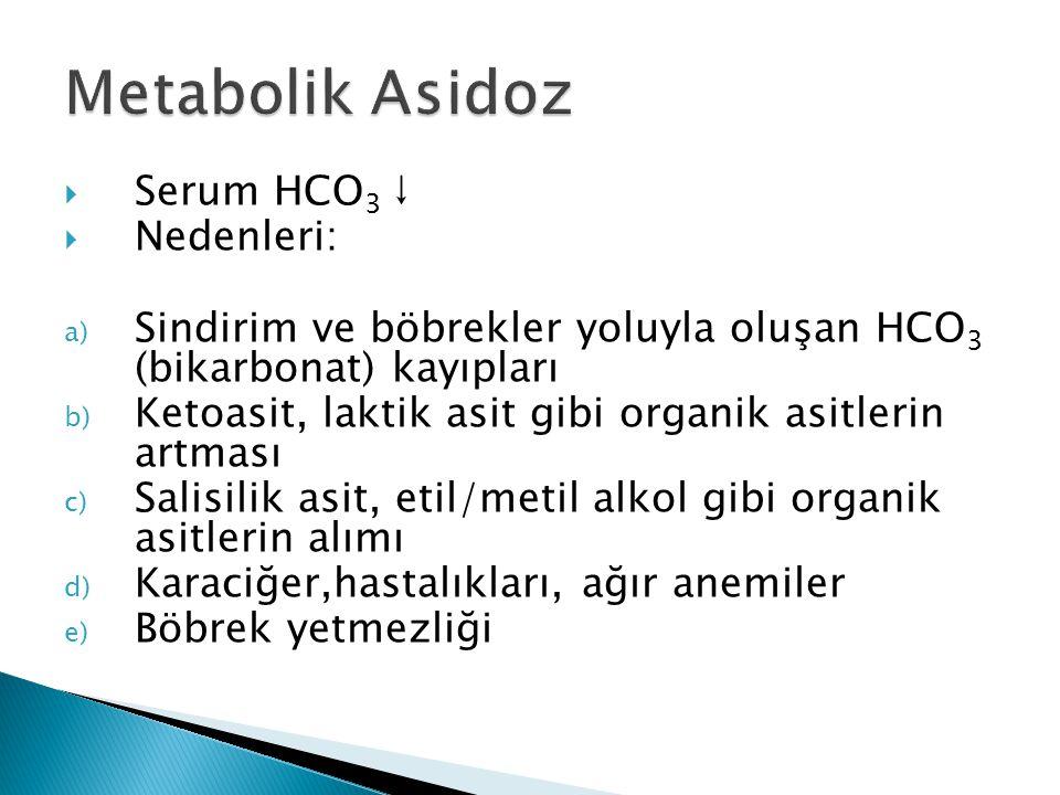  Serum HCO 3 ↓  Nedenleri: a) Sindirim ve böbrekler yoluyla oluşan HCO 3 (bikarbonat) kayıpları b) Ketoasit, laktik asit gibi organik asitlerin artması c) Salisilik asit, etil/metil alkol gibi organik asitlerin alımı d) Karaciğer,hastalıkları, ağır anemiler e) Böbrek yetmezliği