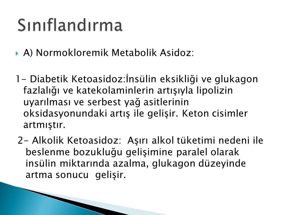  A) Normokloremik Metabolik Asidoz: 1- Diabetik Ketoasidoz:İnsülin eksikliği ve glukagon fazlalığı ve katekolaminlerin artışıyla lipolizin uyarılması ve serbest yağ asitlerinin oksidasyonundaki artış ile gelişir.