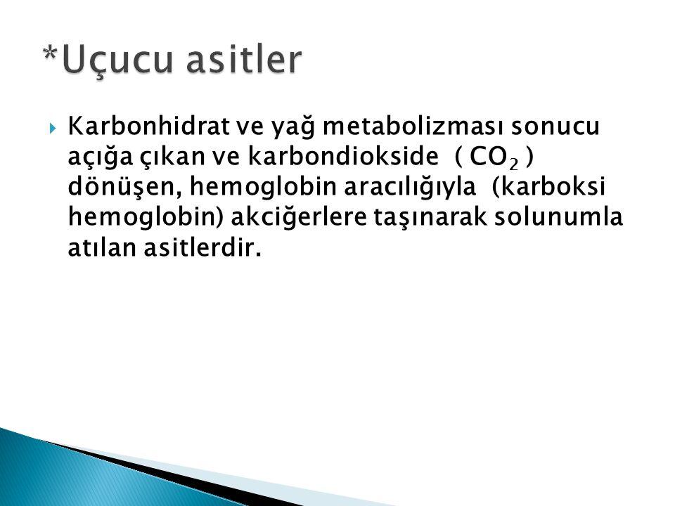  Karbonhidrat ve yağ metabolizması sonucu açığa çıkan ve karbondiokside ( CO 2 ) dönüşen, hemoglobin aracılığıyla (karboksi hemoglobin) akciğerlere taşınarak solunumla atılan asitlerdir.