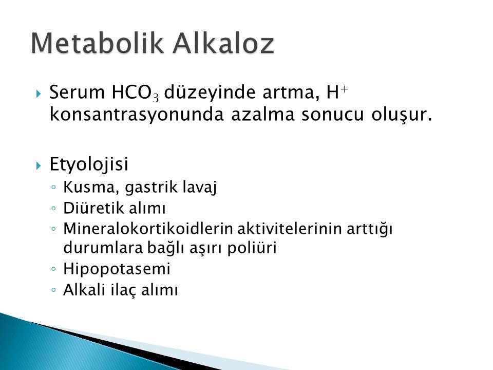  Serum HCO 3 düzeyinde artma, H + konsantrasyonunda azalma sonucu oluşur.