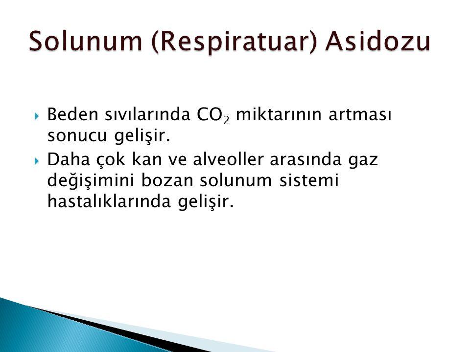  Beden sıvılarında CO 2 miktarının artması sonucu gelişir.
