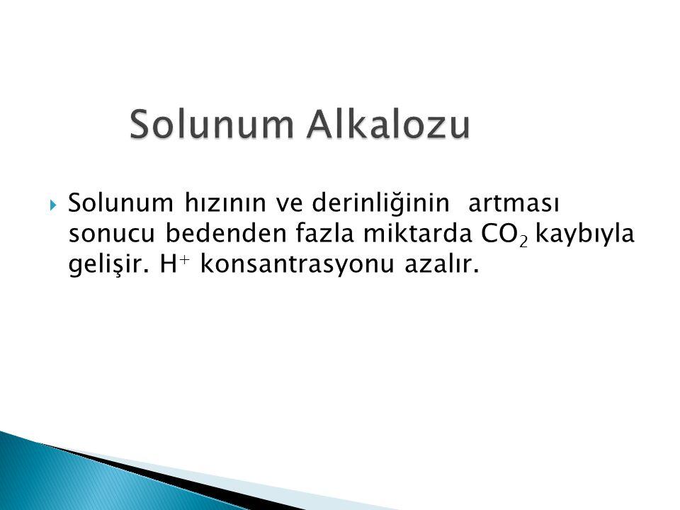  Solunum hızının ve derinliğinin artması sonucu bedenden fazla miktarda CO 2 kaybıyla gelişir.