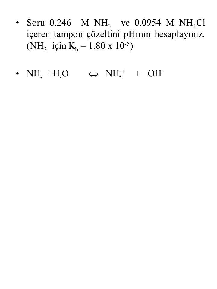 Soru 0.246 M NH 3 ve 0.0954 M NH 4 Cl içeren tampon çözeltini pHının hesaplayınız. (NH 3 için K b = 1.80 x 10 -5 ) NH 3 +H 2 O  NH 4 + + OH -