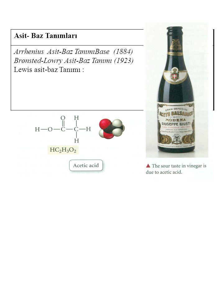 Asit- Baz Tanımları Arrhenius Asit-Baz Tanımı (1884) Hidrojen içeren ve Suda çözüldüğünde H + iyonu oluşturan maddelere Asit denir.