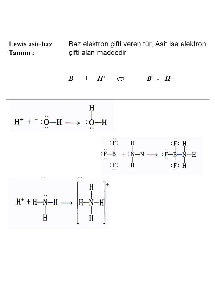 H 2 O (l) + H 2 O (l) H 3 O + + OH - K [H 2 O] 2 = K su = [H 3 O + ][OH - ] = 1.0 x 10 -14 (25°C) Saf suda Hidronyum iyonu ve hidroksil iyonu konsantrasyonları eşittir.