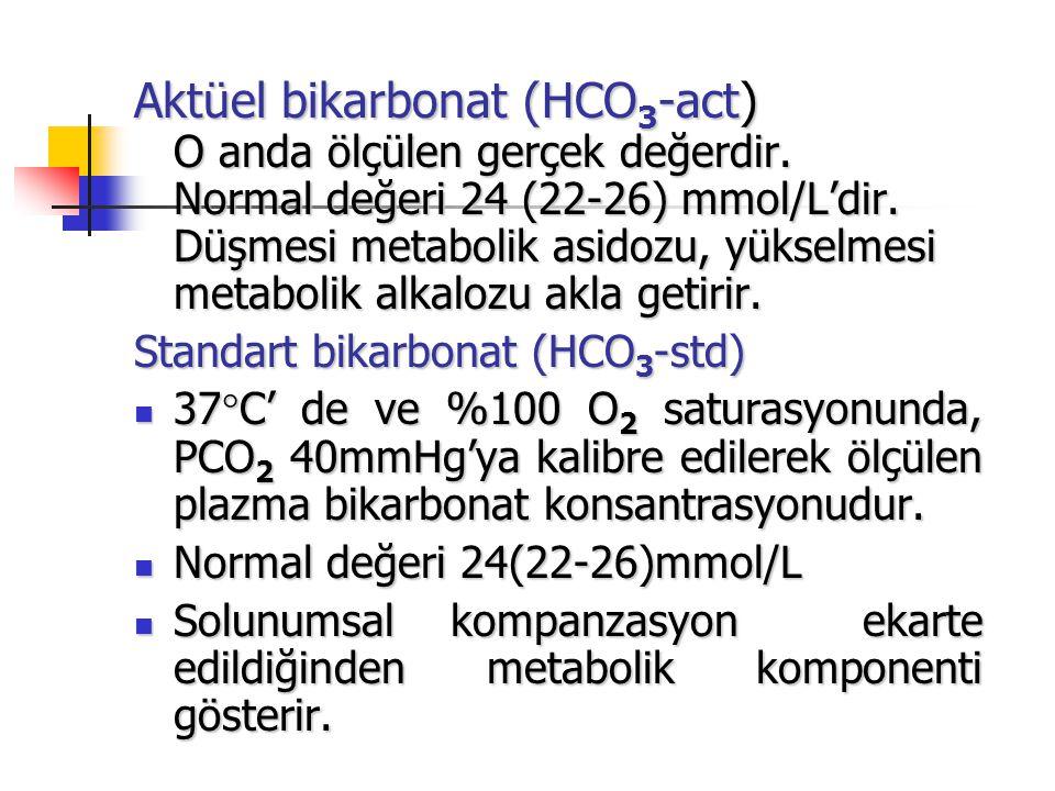 Aktüel bikarbonat (HCO 3 -act) O anda ölçülen gerçek değerdir. Normal değeri 24 (22-26) mmol/L'dir. Düşmesi metabolik asidozu, yükselmesi metabolik al