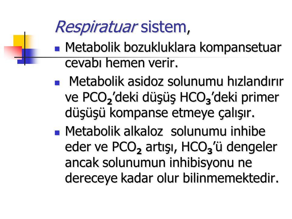 Respiratuar sistem, Metabolik bozukluklara kompansetuar cevabı hemen verir. Metabolik bozukluklara kompansetuar cevabı hemen verir. Metabolik asidoz s