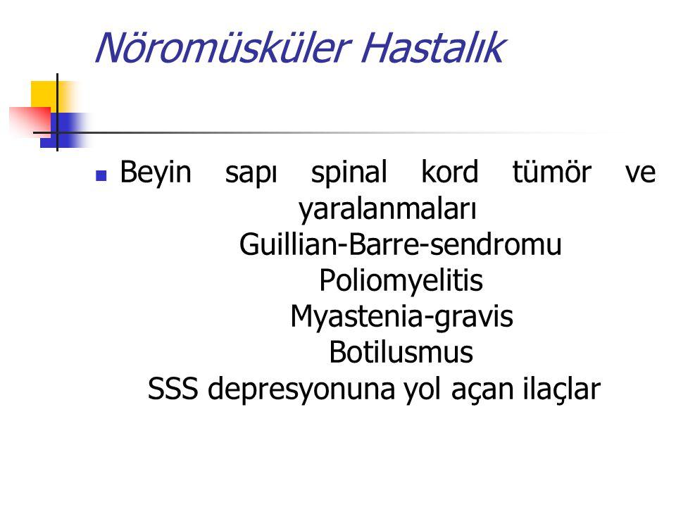 Nöromüsküler Hastalık Beyin sapı spinal kord tümör ve yaralanmaları Guillian-Barre-sendromu Poliomyelitis Myastenia-gravis Botilusmus SSS depresyonuna