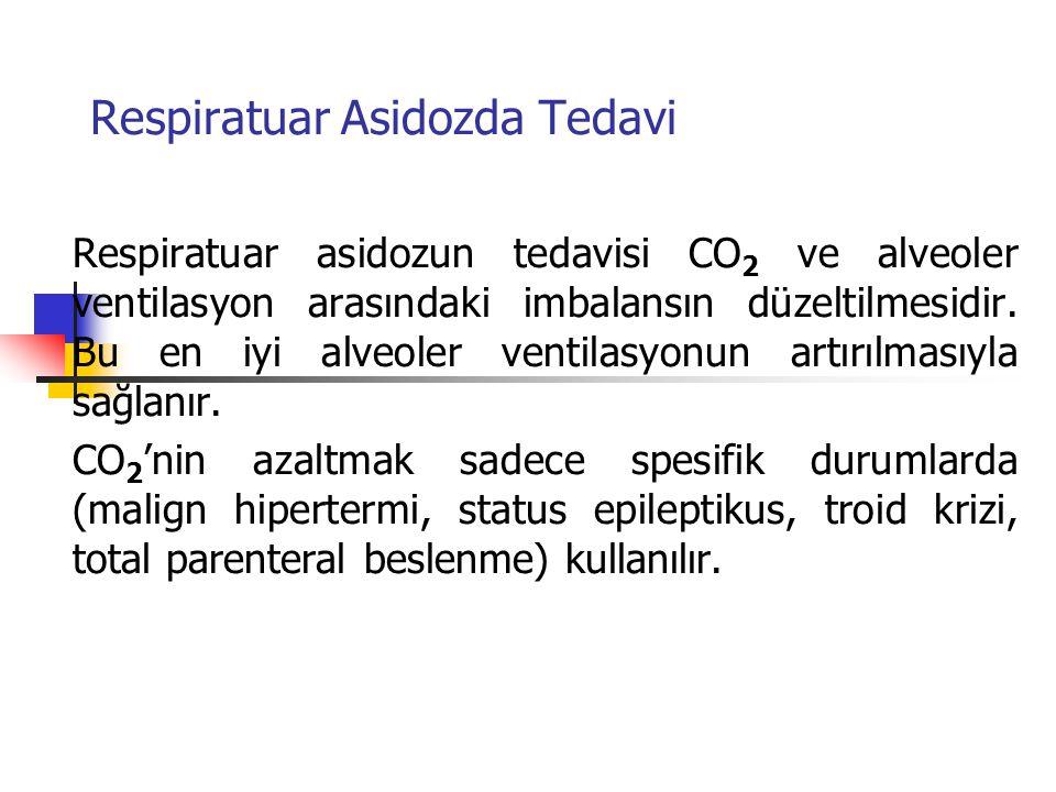 Respiratuar Asidozda Tedavi Respiratuar asidozun tedavisi CO 2 ve alveoler ventilasyon arasındaki imbalansın düzeltilmesidir. Bu en iyi alveoler venti