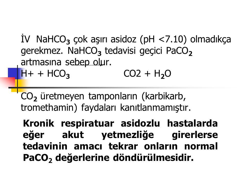 İV NaHCO 3 çok aşırı asidoz (pH <7.10) olmadıkça gerekmez. NaHCO 3 tedavisi geçici PaCO 2 artmasına sebep olur. H+ + HCO 3 CO2 + H 2 O CO 2 üretmeyen