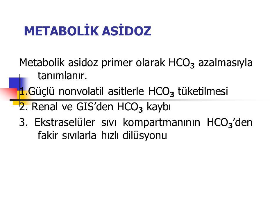 METABOLİK ASİDOZ Metabolik asidoz primer olarak HCO 3 azalmasıyla tanımlanır. 1.Güçlü nonvolatil asitlerle HCO 3 tüketilmesi 2. Renal ve GIS'den HCO 3
