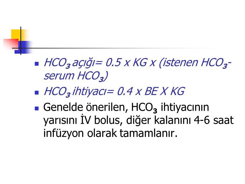 HCO 3 açığı= 0.5 x KG x (istenen HCO 3 - serum HCO 3 ) HCO 3 ihtiyacı= 0.4 x BE X KG Genelde önerilen, HCO 3 ihtiyacının yarısını İV bolus, diğer kala