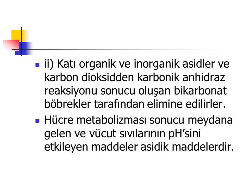 ii) Katı organik ve inorganik asidler ve karbon dioksidden karbonik anhidraz reaksiyonu sonucu oluşan bikarbonat böbrekler tarafından elimine edilirle