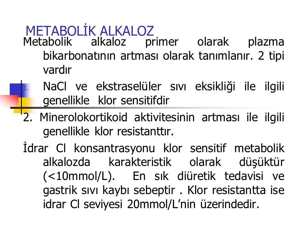METABOLİK ALKALOZ Metabolik alkaloz primer olarak plazma bikarbonatının artması olarak tanımlanır. 2 tipi vardır 1. NaCl ve ekstraselüler sıvı eksikli
