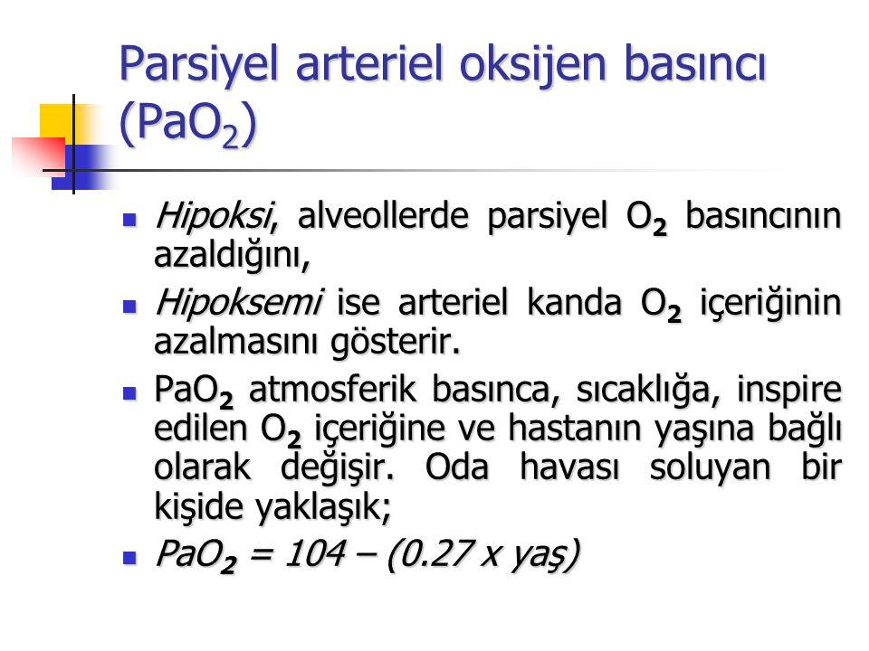 Parsiyel arteriel karbondioksit basıncı(PaCO 2 ) Alveoler ventilasyonun göstergesidir Alveoler ventilasyonun göstergesidir Normaldeğeri40mmHg (37-43) Normaldeğeri40mmHg (37-43) Venöz kanda (PvCO 2 ) 45mmHg'dir.