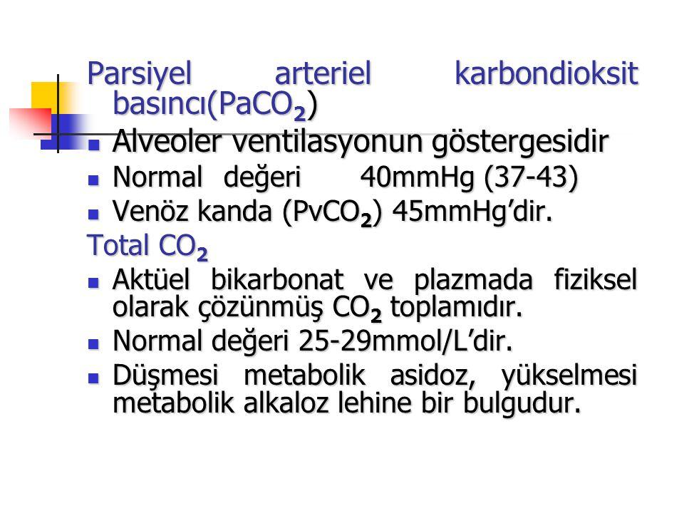 Parsiyel arteriel karbondioksit basıncı(PaCO 2 ) Alveoler ventilasyonun göstergesidir Alveoler ventilasyonun göstergesidir Normaldeğeri40mmHg (37-43)