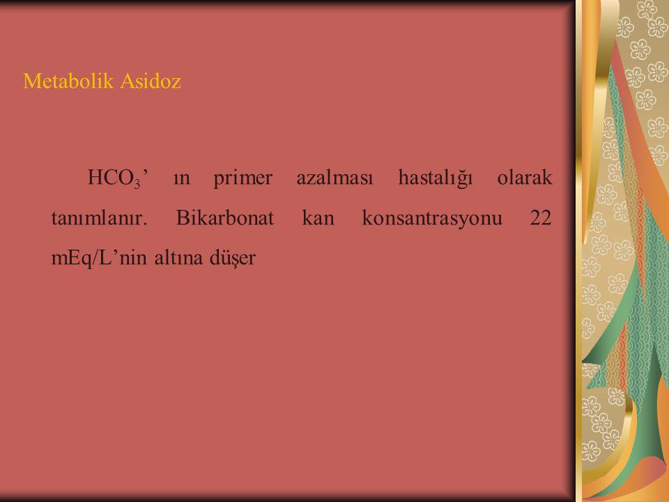 Metabolik Asidoz HCO 3 ' ın primer azalması hastalığı olarak tanımlanır.