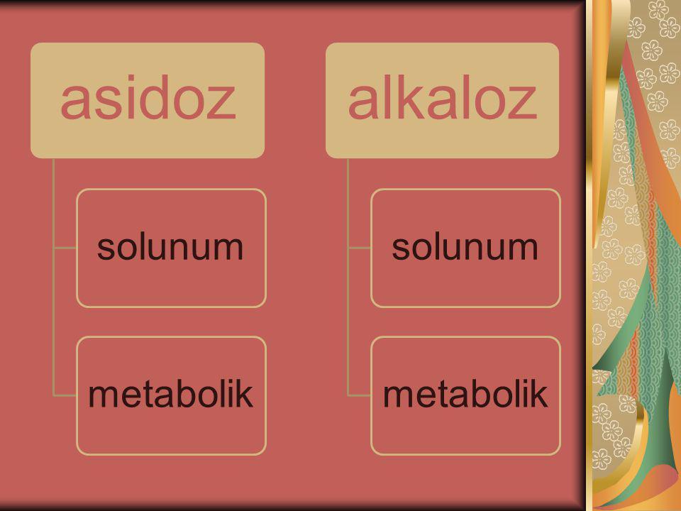 METABOLİL ALKALOZ Vücut sıvılarında hidrojen iyonu (H+) konsantrasyonunun azalması veya bikarbonat (HCO3) düzeyinin artmasıyla gelişen durumdur.