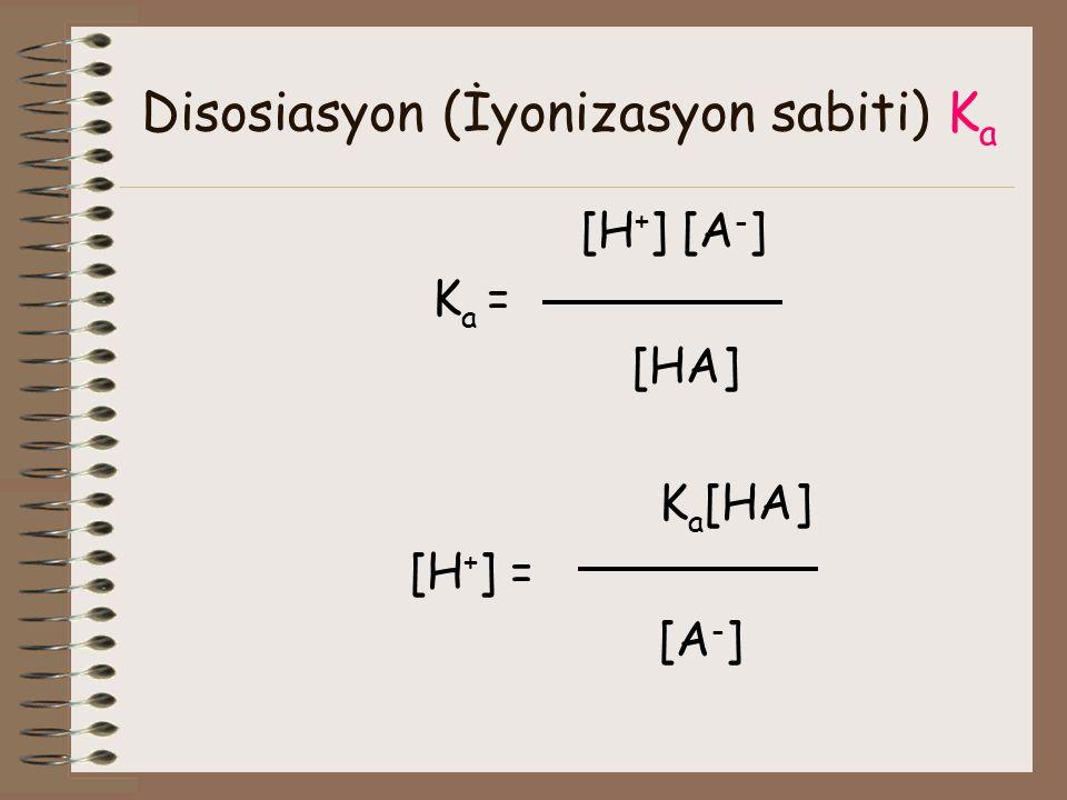 Disosiasyon (İyonizasyon sabiti) K a [H + ] [A - ] K a = [HA] K a [HA] [H + ] = [A - ]