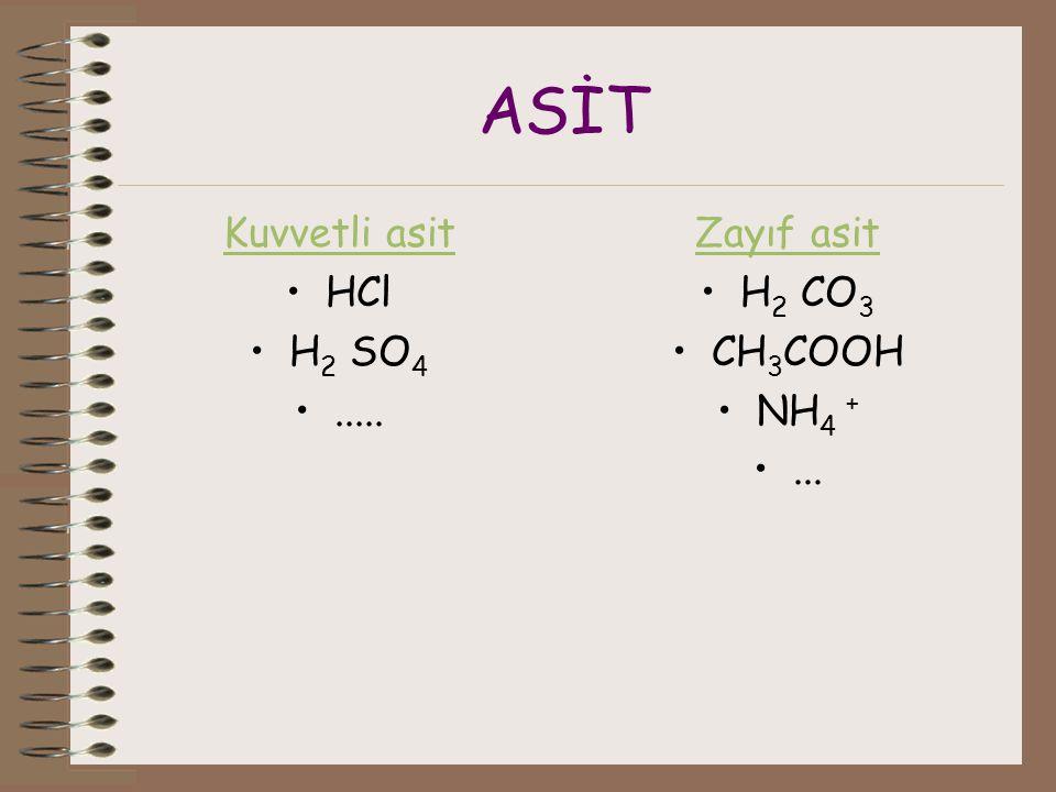 ASİT Kuvvetli asit HCl H 2 SO 4..... Zayıf asit H 2 CO 3 CH 3 COOH NH 4 +...