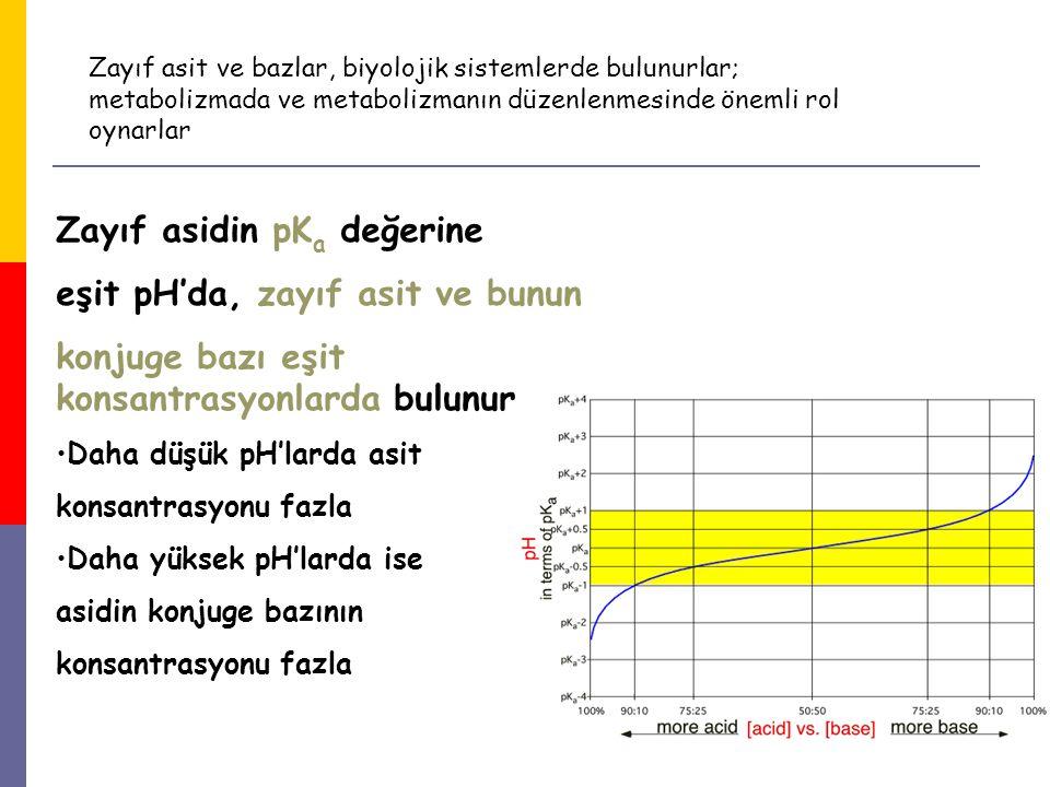 16 Zayıf asidin pK a değerine eşit pH'da, zayıf asit ve bunun konjuge bazı eşit konsantrasyonlarda bulunur Daha düşük pH'larda asit konsantrasyonu faz