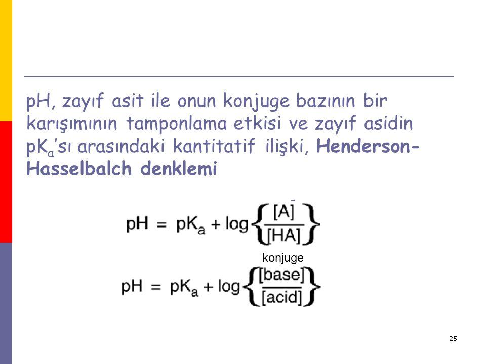 25 pH, zayıf asit ile onun konjuge bazının bir karışımının tamponlama etkisi ve zayıf asidin pK a 'sı arasındaki kantitatif ilişki, Henderson- Hasselb