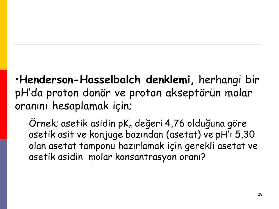 28 Henderson-Hasselbalch denklemi, herhangi bir pH'da proton donör ve proton akseptörün molar oranını hesaplamak için; Örnek; asetik asidin pK a değer
